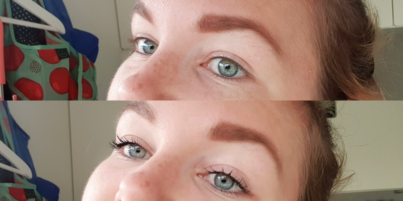 voor en na foto curvy mascara De mascara van Inika